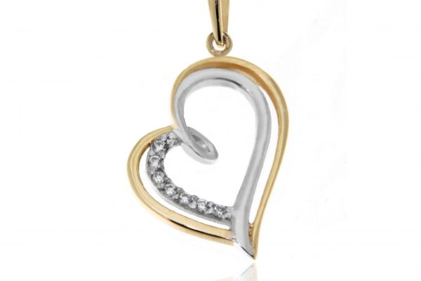 Yellow gold and white gold heart pendant