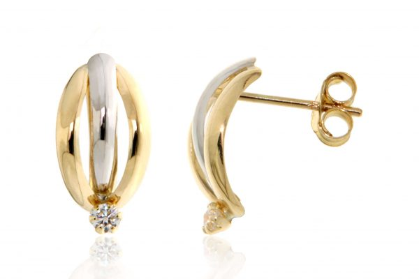 Gold and silver knot earrings